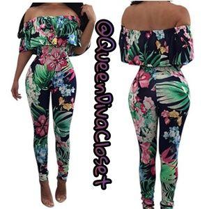 Pants - Tropical ruffle off shoulder jumpsuit playsuit L